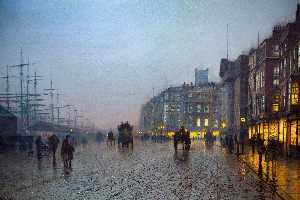 John Atkinson Grimshaw - Liverpool from Wapping - (Famous paintings reproduction)