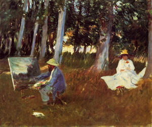 John Singer Sargent - Claude Monet Painting by the Edge of a Wood - (oil painting reproductions)