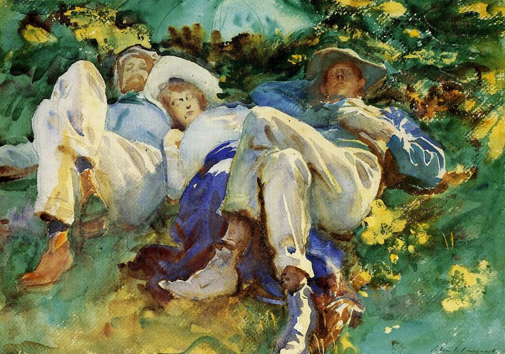 sieste, 1905 de John Singer Sargent (1856-1925, Italy) | Reproductions  D'œuvres D'art John Singer Sargent | WahooArt.com