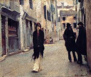 John Singer Sargent - Street in Venice - (Famous paintings reproduction)