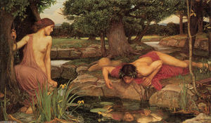 John William Waterhouse - Echo and Narcissus - (oil painting reproductions)