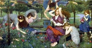 John William Waterhouse - Flora and the Zephyrs - (paintings reproductions)