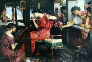 John William Waterhouse - Penelope and the Suitors - (Famous paintings reproduction)