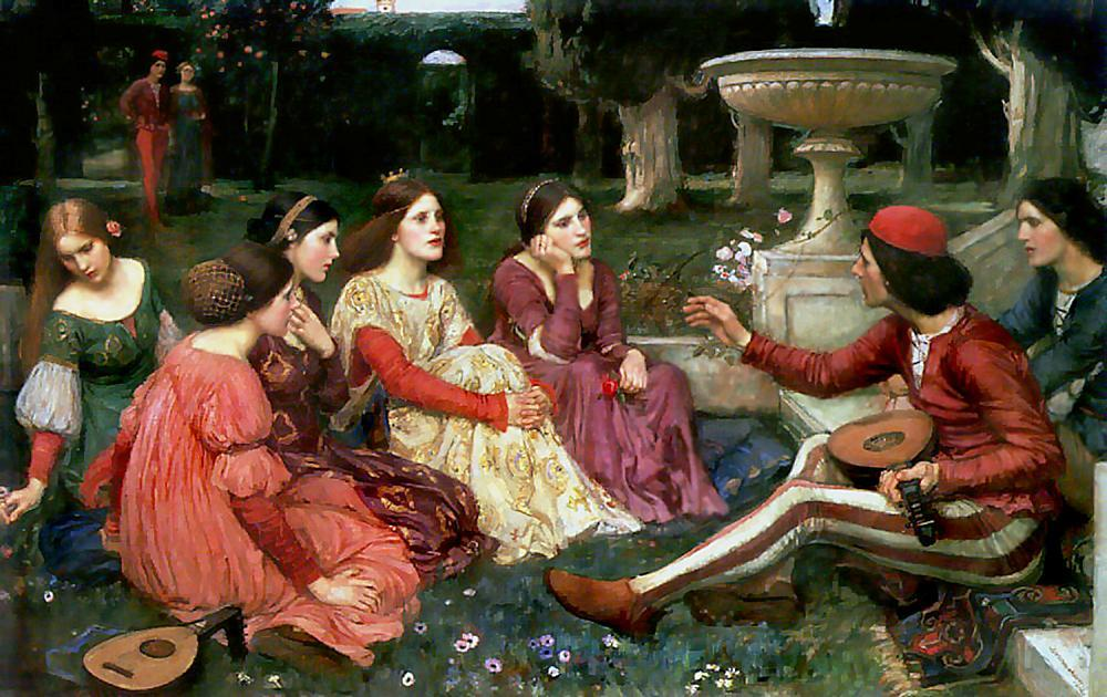 Tale from the Decameron, 1916 by John William Waterhouse (1849-1917, Italy) | Paintings Reproductions John William Waterhouse | WahooArt.com