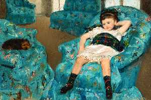 Mary Stevenson Cassatt - Little Girl in a Blue Armchair - (Famous paintings)