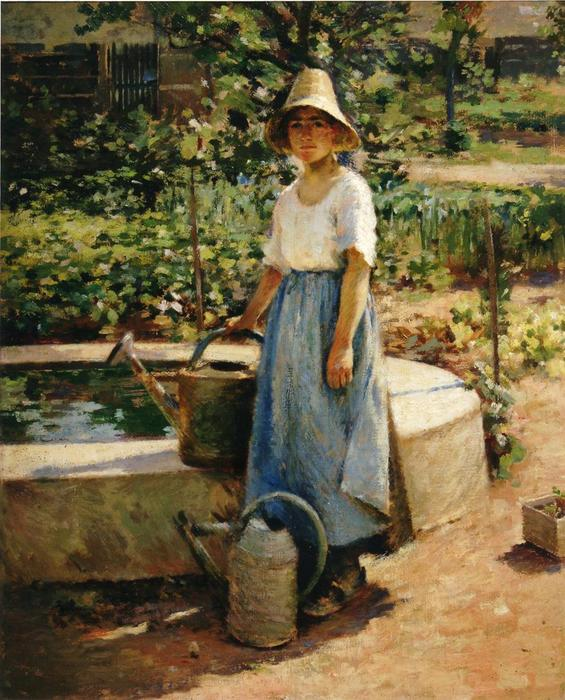 At the Fountain by Theodore Robinson (1852-1896, United States) | Museum Art Reproductions Theodore Robinson | WahooArt.com