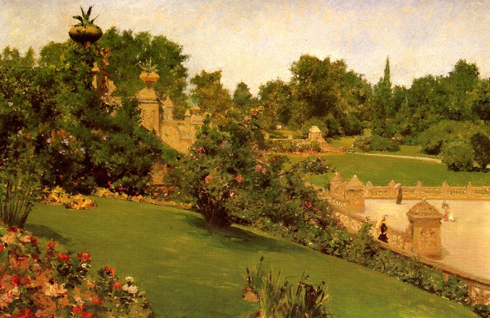 Terrace at the Mall, Central Park - William Merritt Chase