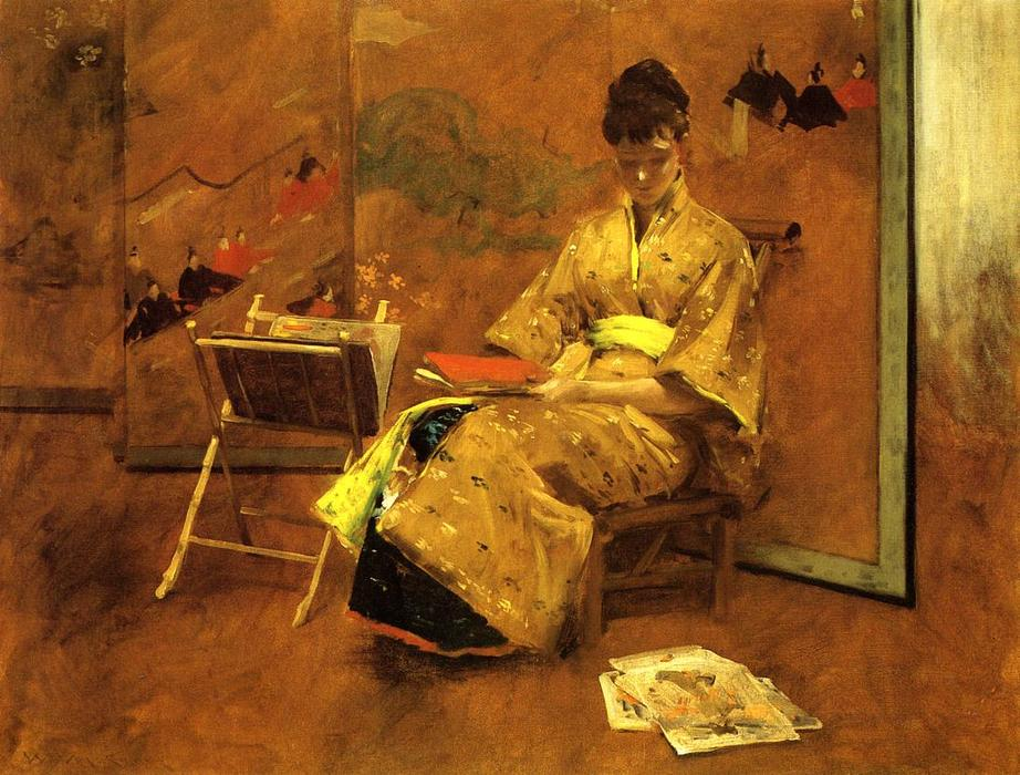 The Kimono, 1895 by William Merritt Chase (1849-1916, United States) | Museum Quality Reproductions | WahooArt.com