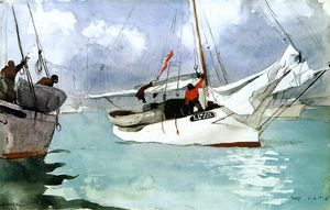 Winslow Homer - Fishing Boats, Key West - (Famous paintings reproduction)