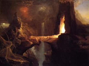 Thomas Cole - Expulsion. Moon and Firelight - (Famous paintings reproduction)