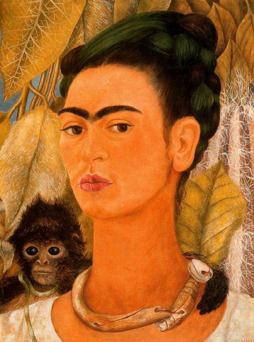 autorretrato con ein von frida kahlo 1907 1954 mexico kunstdrucke auf leinwand. Black Bedroom Furniture Sets. Home Design Ideas