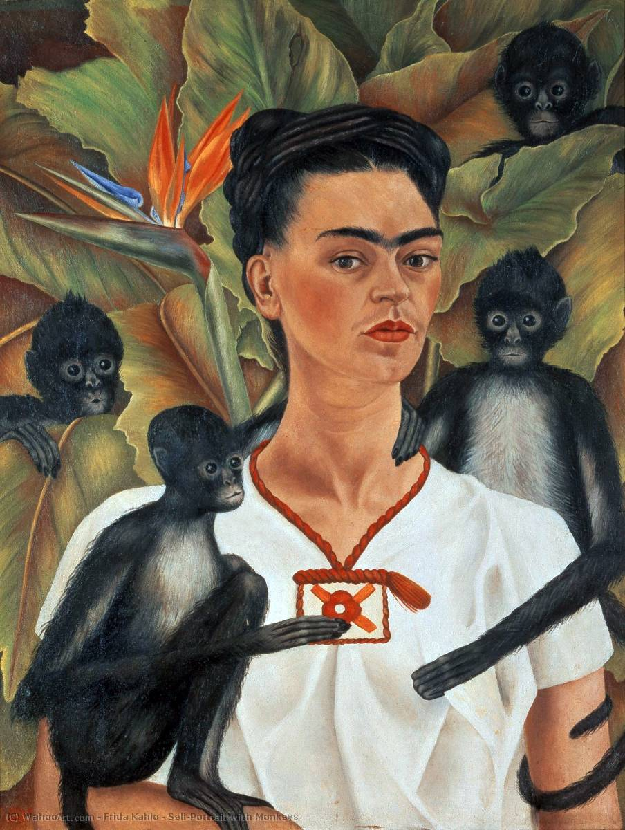 Self-Portrait with Monkeys, 1943 by Frida Kahlo (1907-1954, Mexico) | Painting Copy | WahooArt.com