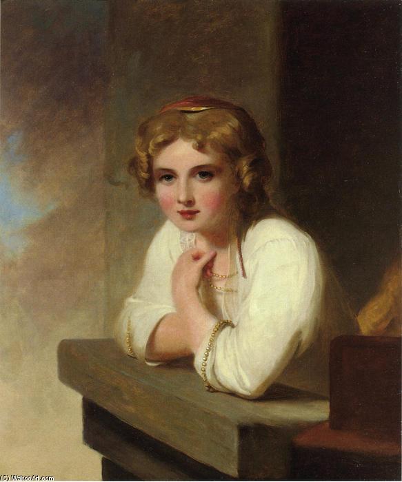 Jeune paysanne (après Jeune fille de Rembrandt Penchée sur un Wiindowsill  ), 1838 de Thomas Sully (1783-1872, United Kingdom)   Reproductions De  Peintures Thomas Sully   WahooArt.com