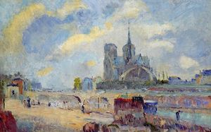 Albert-Charles Lebourg (Albert-Marie Lebourg) - Notre-Dame de Paris and the Bridge of the Archeveche - (Famous paintings reproduction)