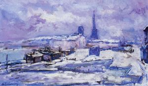 Albert-Charles Lebourg (Albert-Marie Lebourg) - Rouen, Snow Effect - (Famous paintings)