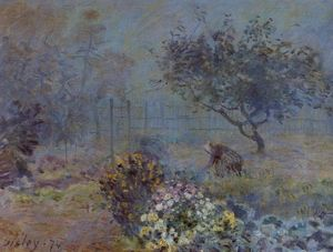 Alfred Sisley - Foggy Morning, Voisins - (Famous paintings reproduction)