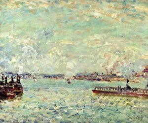 Alfred Sisley - The Seine at Point du Jour - (paintings reproductions)