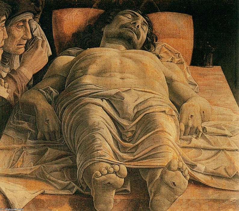 The Lamentation over the Dead Christ, 1480 by Andrea Mantegna (1431-1506, Italy) | Paintings Reproductions Andrea Mantegna | WahooArt.com