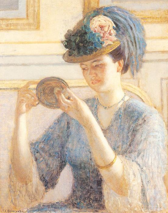 Reflections by Frederick Carl Frieseke (1874-1939, United States) | Art Reproductions Frederick Carl Frieseke | WahooArt.com