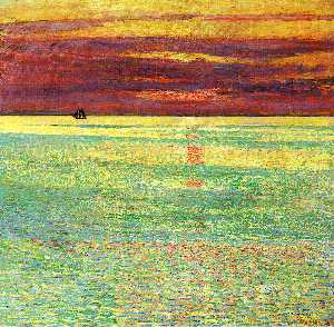 Frederick Childe Hassam - Sunset at Sea - (Famous paintings reproduction)