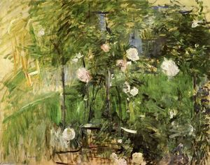 Berthe Morisot - A Corner of the Rose Garden - (Famous paintings reproduction)
