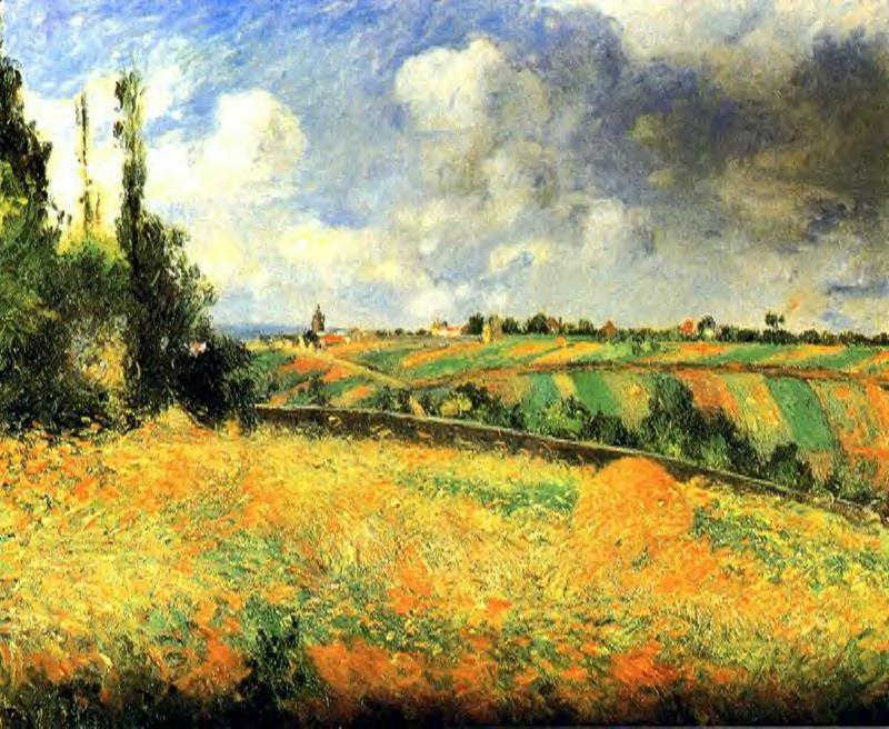 Fields, 1877 by Camille Pissarro (1830-1903, United States) | Art Reproductions Camille Pissarro | WahooArt.com