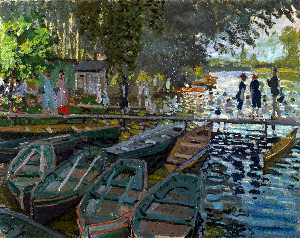 Claude Monet - Bathers at La Grenouillere - (Famous paintings reproduction)