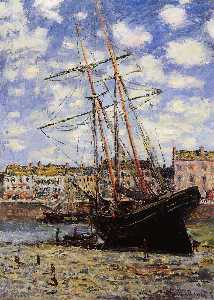Claude Monet - Boat at Low Tide at Fecamp