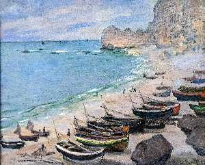 Claude Monet - Boats on the Beach at Etretat