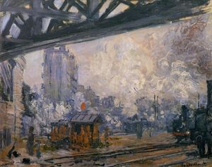 Claude Monet - Exterior View of the Saint-Lazare Station - (Famous paintings)