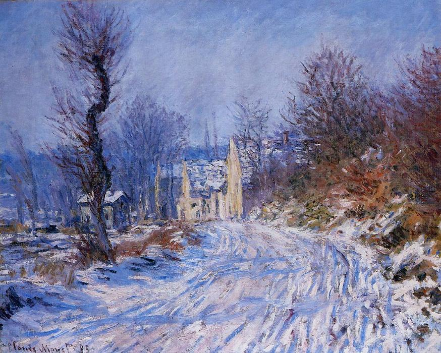 Road to Giverny in Winter, 1885 by Claude Monet (1840-1926, France) | Art Reproductions Claude Monet | WahooArt.com