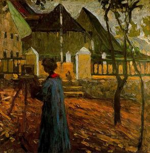 Wassily Kandinsky - Gabriele Münter painting in Kallmunz - (Famous paintings)