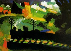 Wassily Kandinsky - View of Murnau with train and castel - (Famous paintings reproduction)