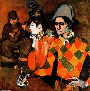 Pablo Picasso - At the ''Lapin Agile'' - (Famous paintings reproduction)