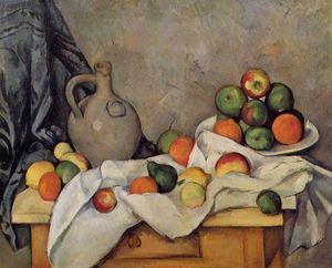 Paul Cezanne - Curtain, Jug and Fruit - (Famous paintings reproduction)
