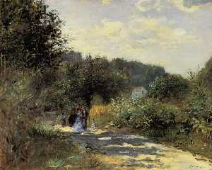 Pierre-Auguste Renoir - A Road in Louveciennes - (paintings reproductions)