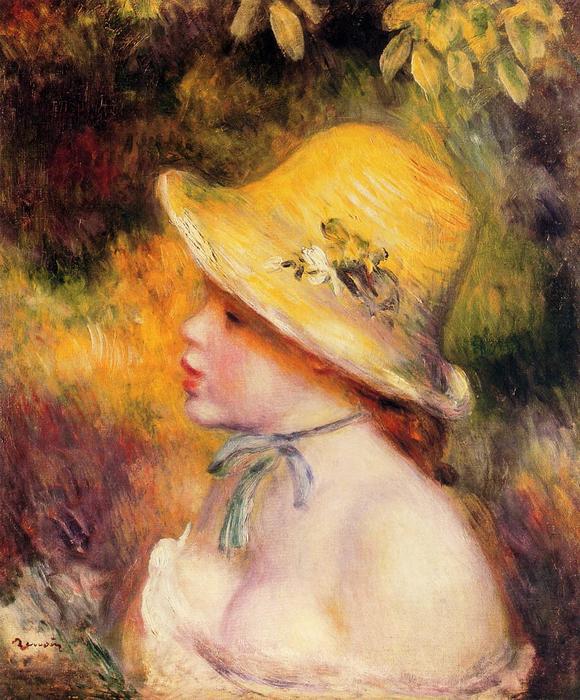 Chica joven cómo Un paja sombrero 1 de Pierre-Auguste Renoir (1841-1919 bb2ebe5a5f5d
