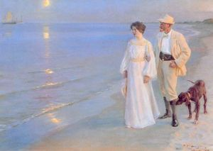 Peder Severin Kroyer - Tarde de verano en Skagen - (oil painting reproductions)