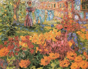Emile Nolde - Flower Garden (Girl and Washing) - (oil painting reproductions)