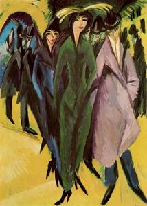 Ernst Ludwig Kirchner - Women in the street - (paintings reproductions)