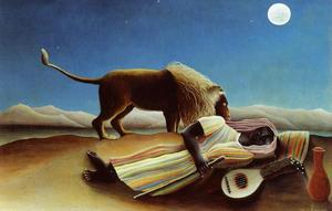 Henri Julien Félix Rousseau (Le Douanier) - Sleeping Gypsy - (Famous paintings reproduction)