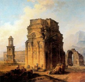 Hubert Robert - Triumphal Arch and Amphitheater at Orange