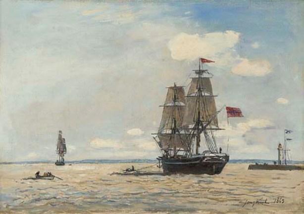 Navire norvégien quittant le port de Honfleur de Johan Barthold Jongkind  (1819-1891, Netherlands) | Reproductions De Peintures Johan Barthold  Jongkind | WahooArt.com
