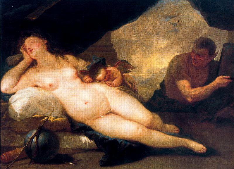 Venus and Cupid with a Satyr dormant by Luca Giordano (1634-1705, Italy) | Museum Art Reproductions Luca Giordano | WahooArt.com