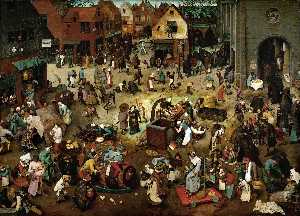 Pieter Bruegel The Younger - The Battle between Lent and Carnival - (Famous paintings)