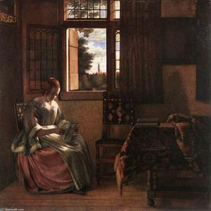 Pieter De Hooch - Woman Reading a Letter - (paintings reproductions)