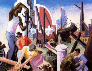 Thomas Hart Benton - City Building (Study for America Today) - (paintings reproductions)