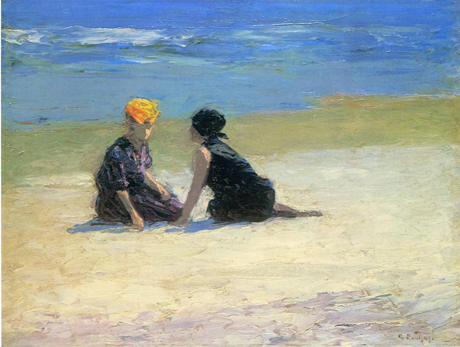 Confidences by Edward Henry Potthast (1857-1927, United States) | Museum Quality Reproductions | WahooArt.com