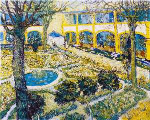 Vincent Van Gogh - The Courtyard of the Hospital at Arles - (Famous paintings)
