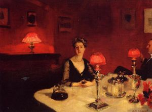 John Singer Sargent - A Dinner Table at Night (also known as Mr. and Mrs. Albert Vickers) - (Famous paintings reproduction)